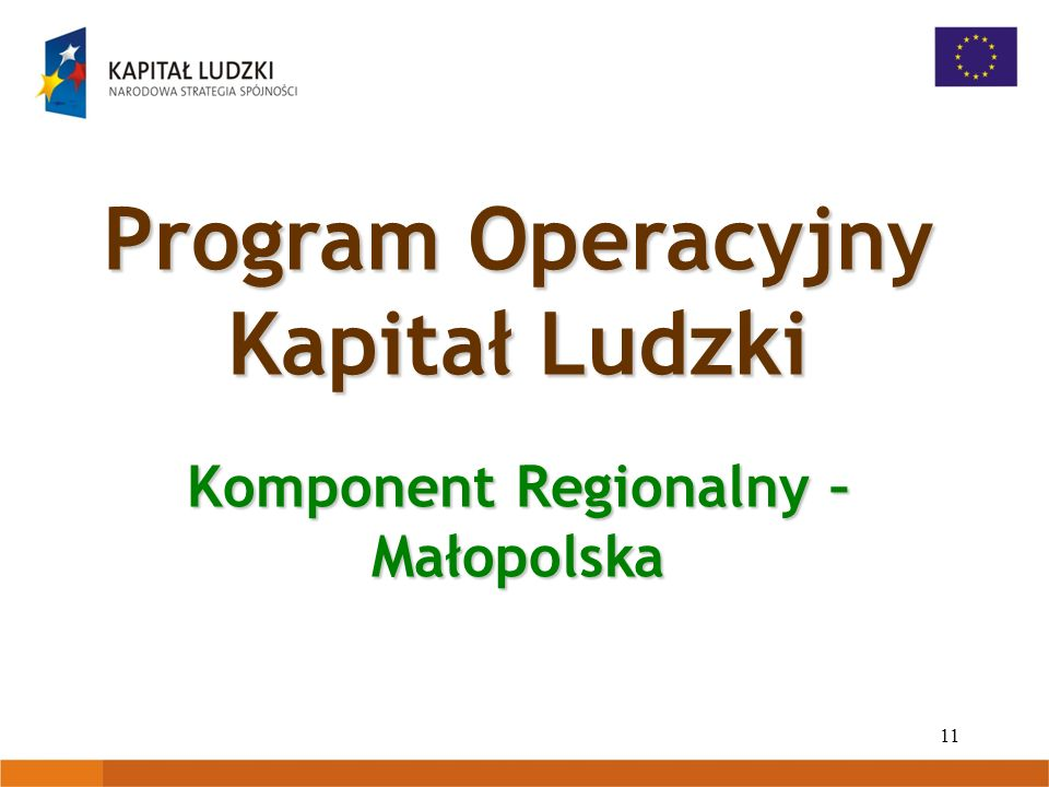 11 Program Operacyjny Kapitał Ludzki Komponent Regionalny – Małopolska