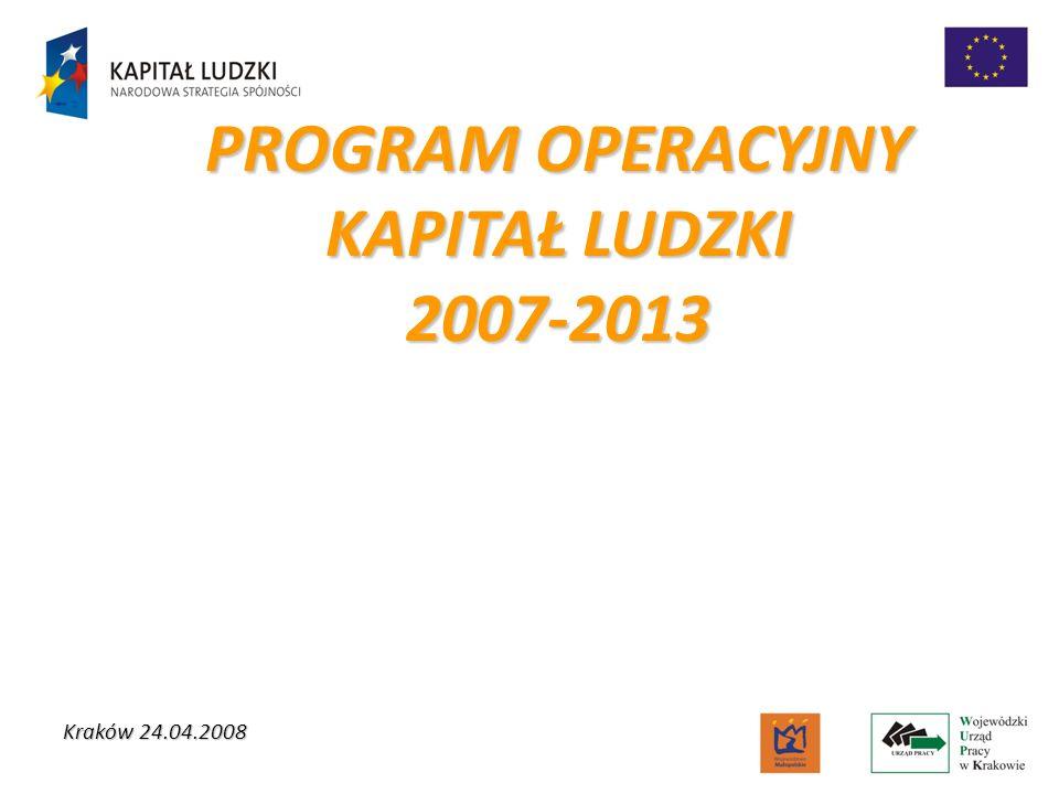 PROGRAM OPERACYJNY KAPITAŁ LUDZKI 2007-2013 Kraków 24.04.2008
