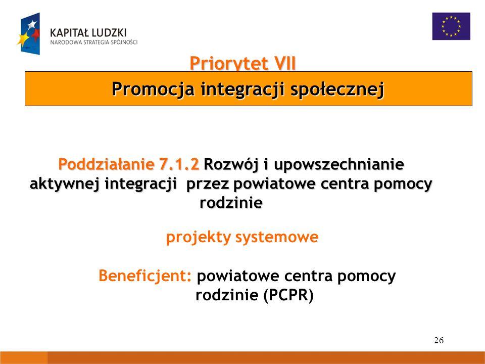 26 Priorytet VII Promocja integracji społecznej Poddziałanie 7.1.2 Rozwój i upowszechnianie aktywnej integracji przez powiatowe centra pomocy rodzinie