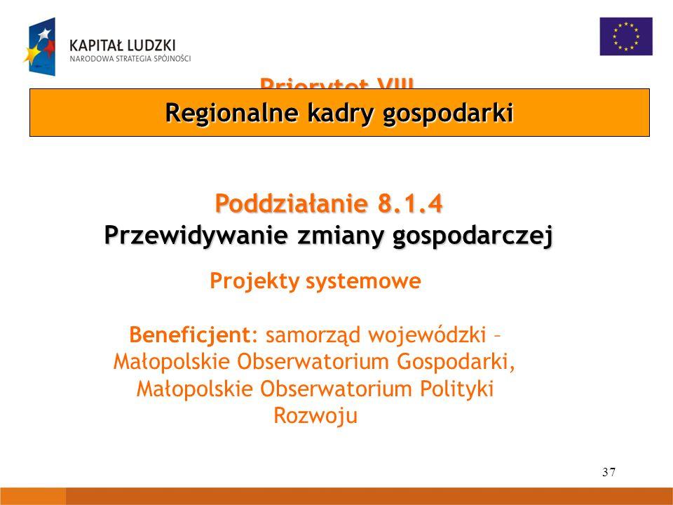 37 Priorytet VIII Poddziałanie 8.1.4 Przewidywanie zmiany gospodarczej Projekty systemowe Beneficjent: samorząd wojewódzki – Małopolskie Obserwatorium
