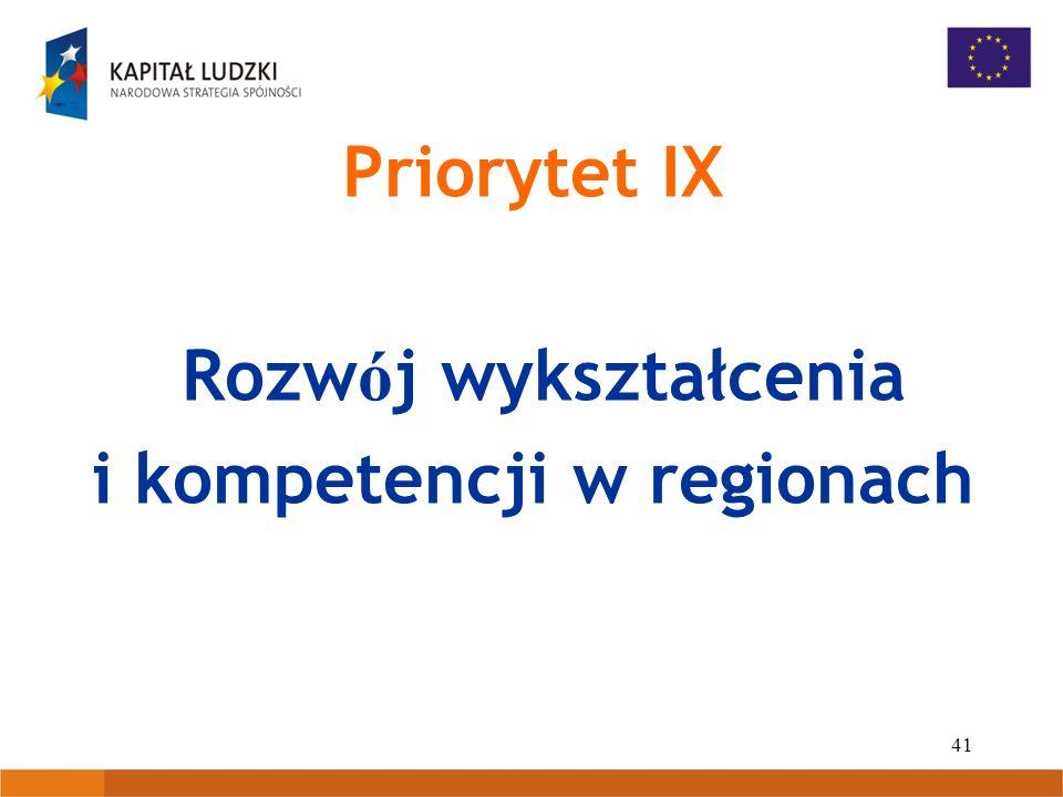 41 Priorytet IX Rozw ó j wykształcenia i kompetencji w regionach