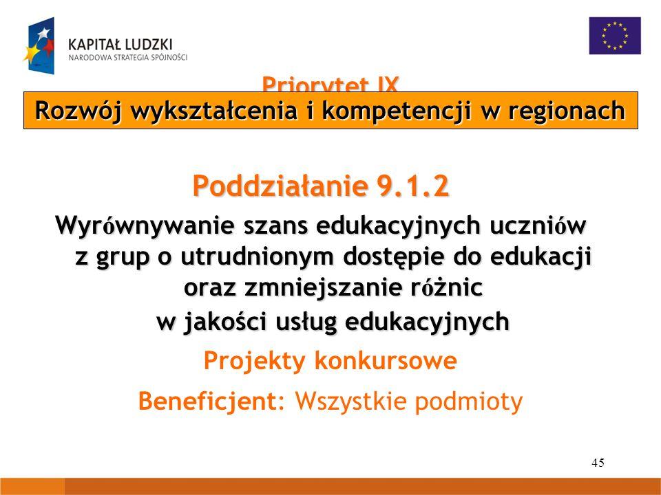 45 Priorytet IX Poddziałanie 9.1.2 Wyr ó wnywanie szans edukacyjnych uczni ó w z grup o utrudnionym dostępie do edukacji oraz zmniejszanie r ó żnic w jakości usług edukacyjnych Projekty konkursowe Beneficjent: Wszystkie podmioty Rozwój wykształcenia i kompetencji w regionach