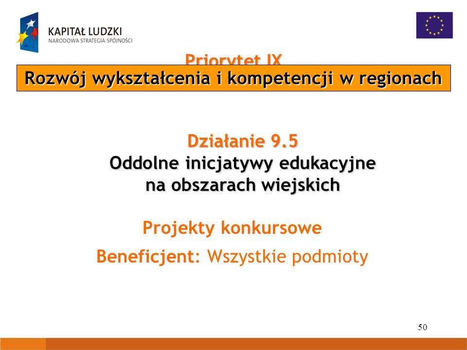 50 Priorytet IX Rozwój wykształcenia i kompetencji w regionach Działanie 9.5 Oddolne inicjatywy edukacyjne na obszarach wiejskich Projekty konkursowe Beneficjent: Wszystkie podmioty