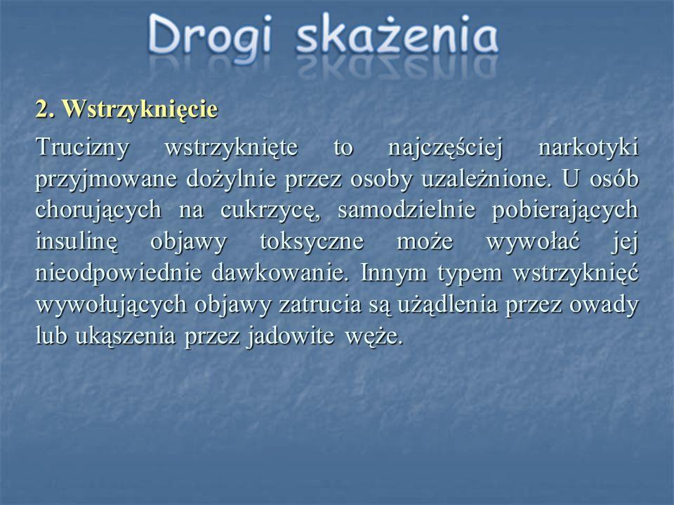 2. Wstrzyknięcie Trucizny wstrzyknięte to najczęściej narkotyki przyjmowane dożylnie przez osoby uzależnione. U osób chorujących na cukrzycę, samodzie