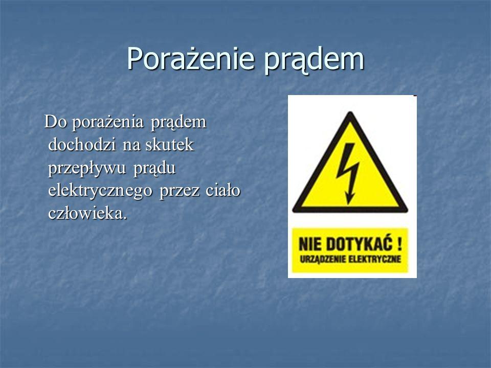 Porażenie prądem Do porażenia prądem dochodzi na skutek przepływu prądu elektrycznego przez ciało człowieka. Do porażenia prądem dochodzi na skutek pr