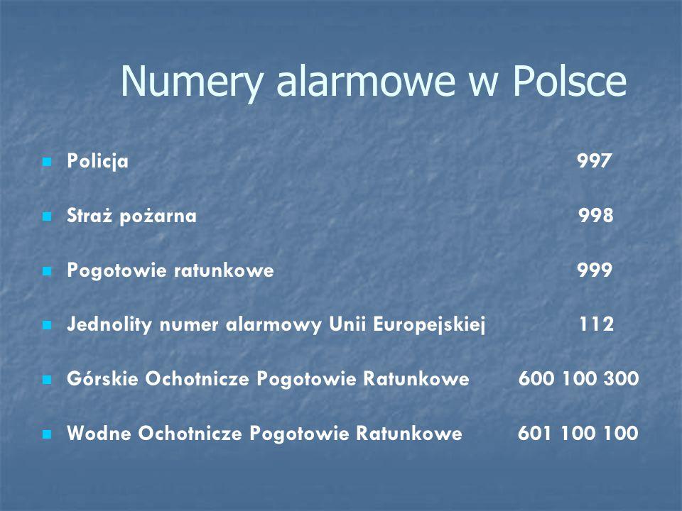 Numery alarmowe w Polsce Policja 997 Straż pożarna 998 Pogotowie ratunkowe 999 Jednolity numer alarmowy Unii Europejskiej 112 Górskie Ochotnicze Pogot