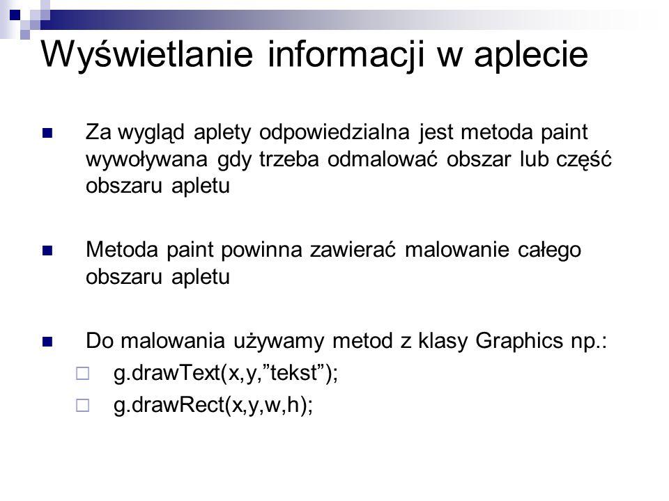 Wyświetlanie informacji w aplecie Za wygląd aplety odpowiedzialna jest metoda paint wywoływana gdy trzeba odmalować obszar lub część obszaru apletu Me