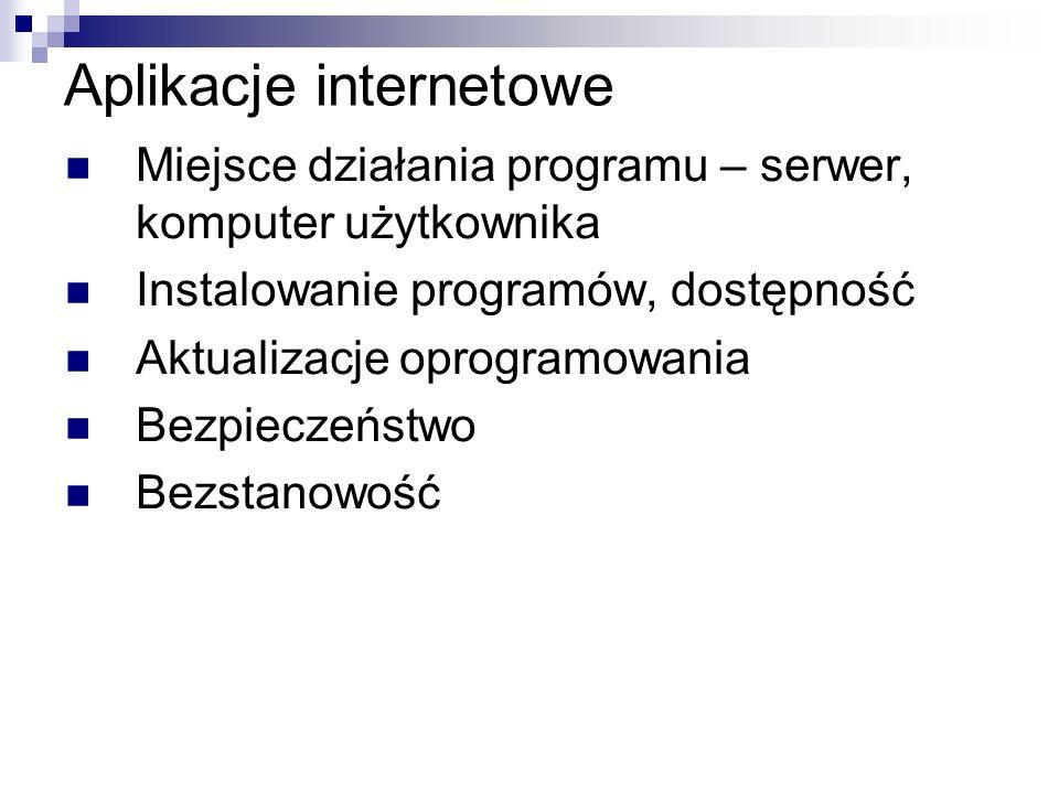 Programy internetowe HTML, CSS, XML, XHTML JavaScript – komputer użytkownika CGI, Perl, C - serwer PHP - serwer Java applet – komputer użytkownika Java servlet - serwer ASP, ASP.NET, C# - serwer