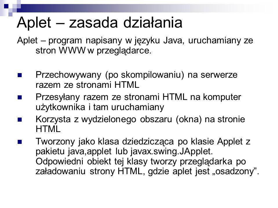 Aplet – zasada działania Aplet – program napisany w języku Java, uruchamiany ze stron WWW w przeglądarce. Przechowywany (po skompilowaniu) na serwerze