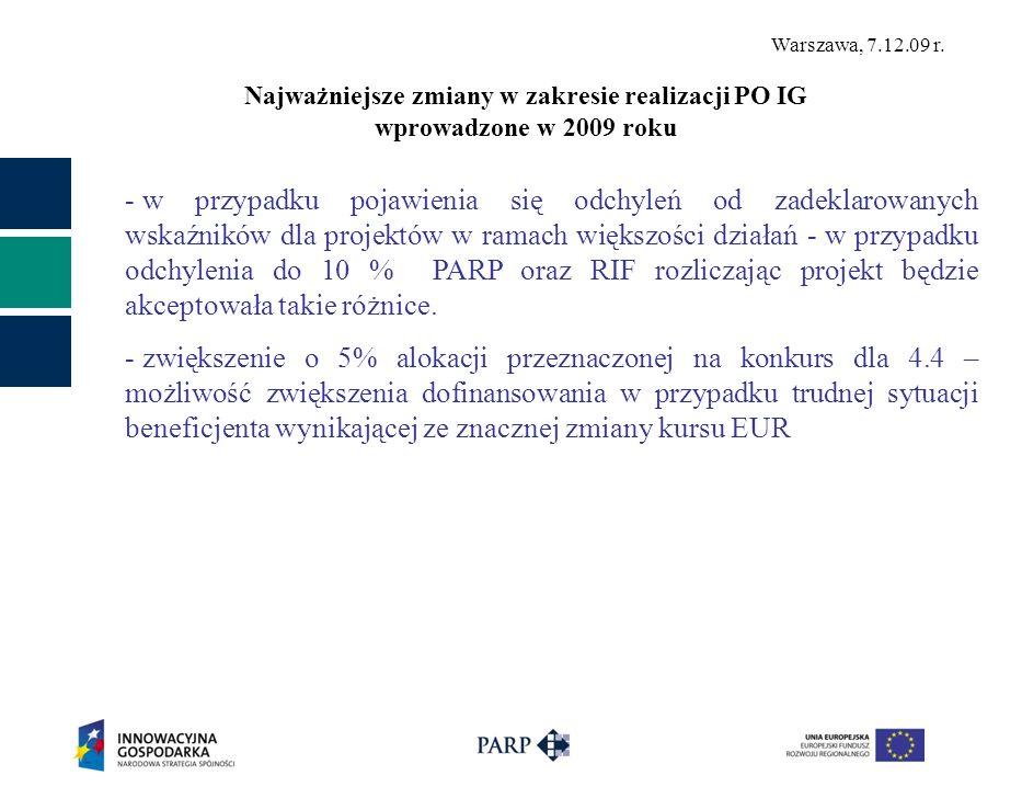 Warszawa, 7.12.09 r. - w przypadku pojawienia się odchyleń od zadeklarowanych wskaźników dla projektów w ramach większości działań - w przypadku odchy
