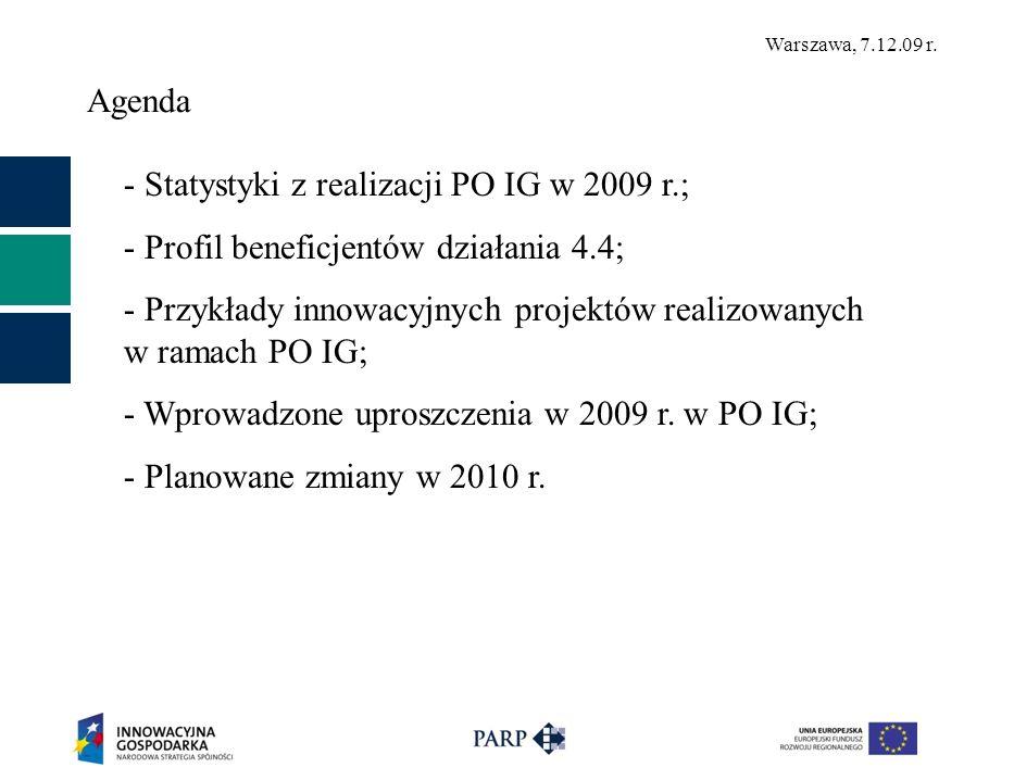 Warszawa, 7.12.09 r. Agenda - Statystyki z realizacji PO IG w 2009 r.; - Profil beneficjentów działania 4.4; - Przykłady innowacyjnych projektów reali