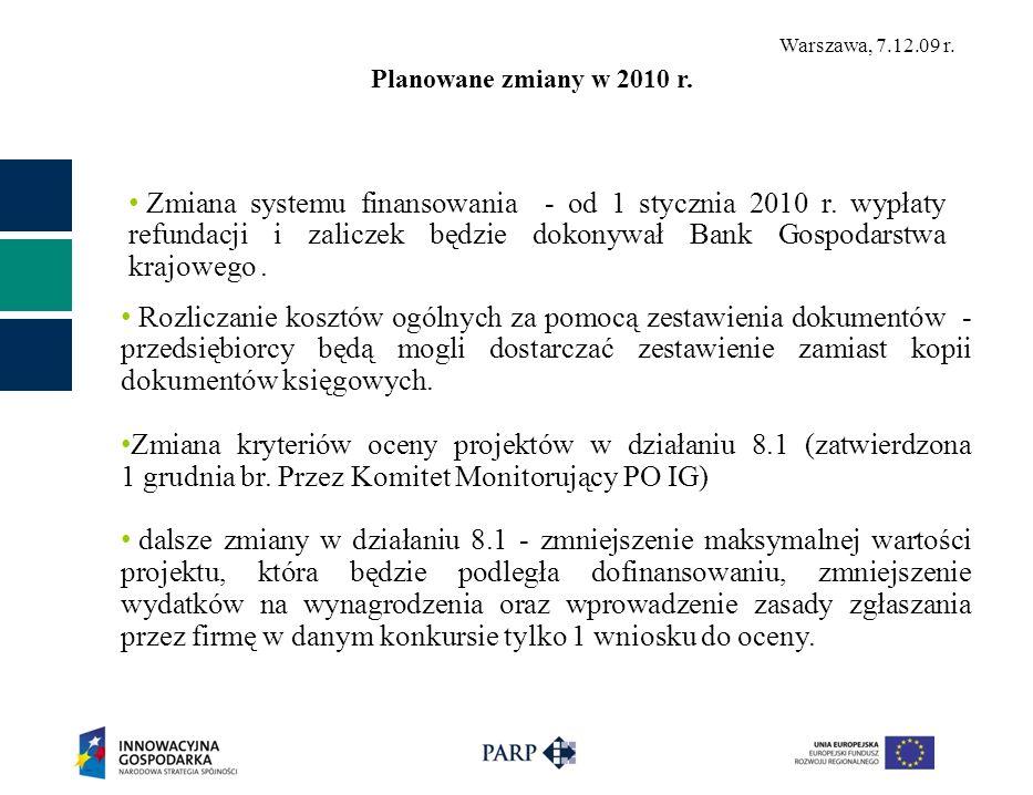 Warszawa, 7.12.09 r. Zmiana systemu finansowania - od 1 stycznia 2010 r. wypłaty refundacji i zaliczek będzie dokonywał Bank Gospodarstwa krajowego. P