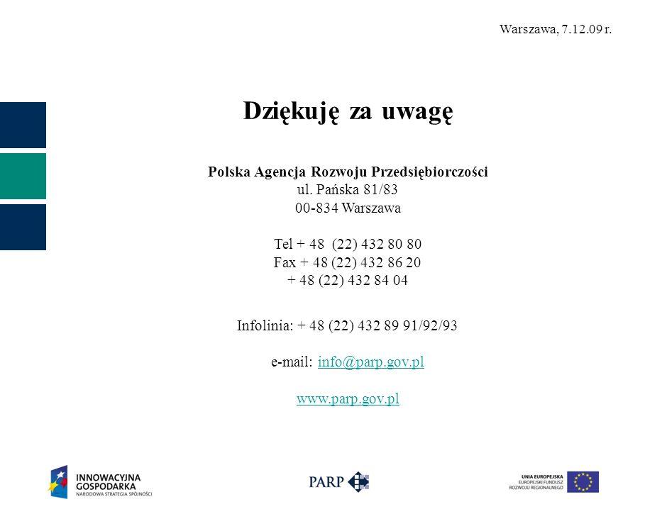 Warszawa, 7.12.09 r. Dziękuję za uwagę Polska Agencja Rozwoju Przedsiębiorczości ul. Pańska 81/83 00-834 Warszawa Tel + 48 (22) 432 80 80 Fax + 48 (22