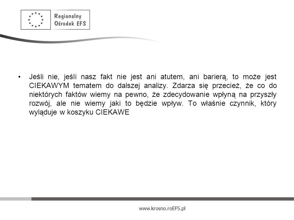 www.krosno.roEFS.pl Jeśli nie, jeśli nasz fakt nie jest ani atutem, ani barierą, to może jest CIEKAWYM tematem do dalszej analizy. Zdarza się przecież
