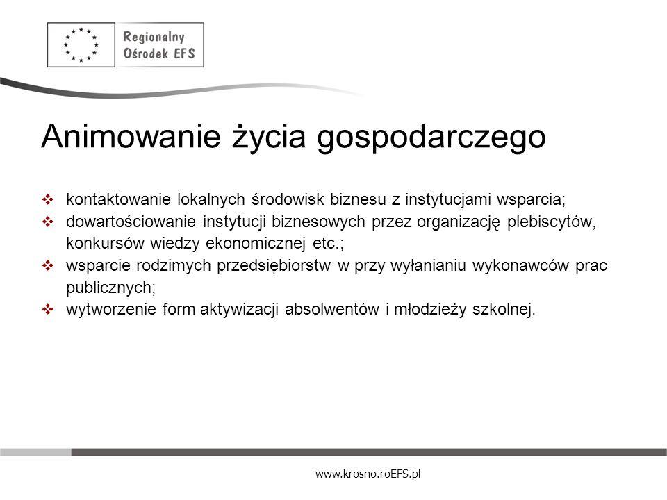 www.krosno.roEFS.pl Animowanie życia gospodarczego kontaktowanie lokalnych środowisk biznesu z instytucjami wsparcia; dowartościowanie instytucji bizn