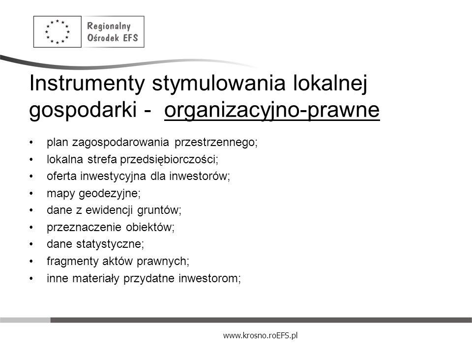 www.krosno.roEFS.pl Instrumenty stymulowania lokalnej gospodarki - organizacyjno-prawne plan zagospodarowania przestrzennego; lokalna strefa przedsięb