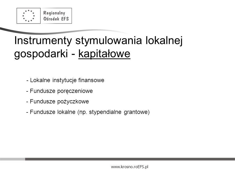 www.krosno.roEFS.pl Instrumenty stymulowania lokalnej gospodarki - kapitałowe - Lokalne instytucje finansowe - Fundusze poręczeniowe - Fundusze pożycz
