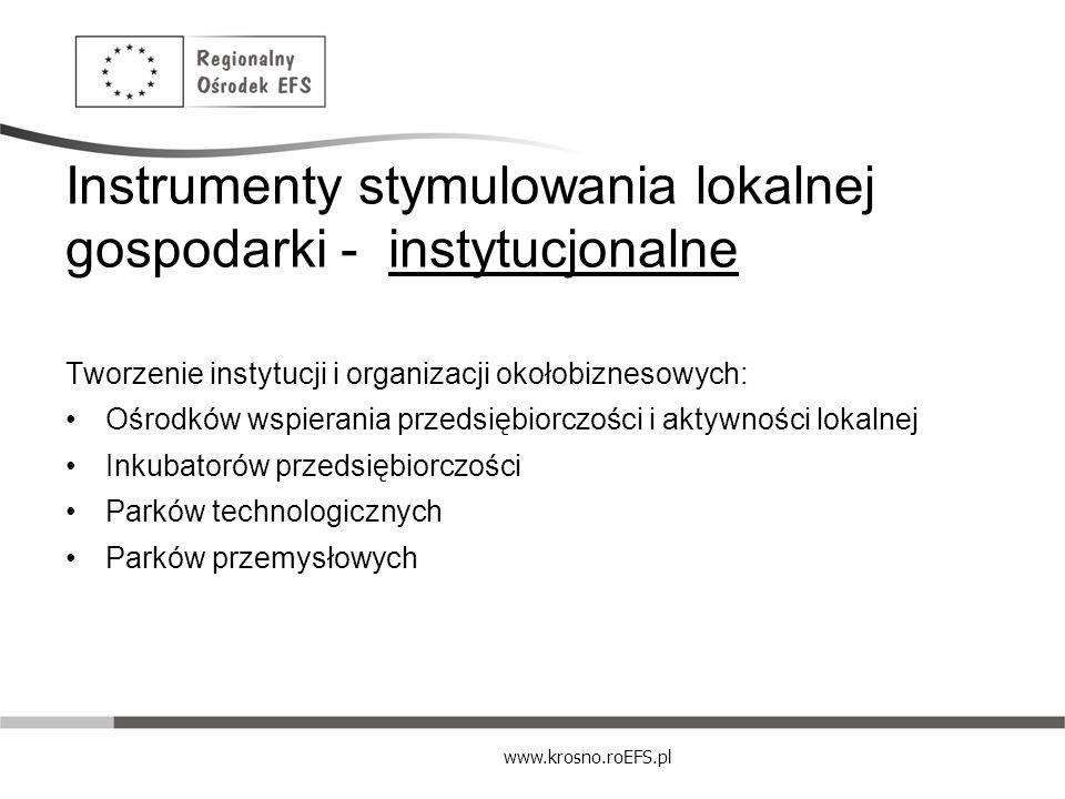 www.krosno.roEFS.pl Instrumenty stymulowania lokalnej gospodarki - instytucjonalne Tworzenie instytucji i organizacji okołobiznesowych: Ośrodków wspie