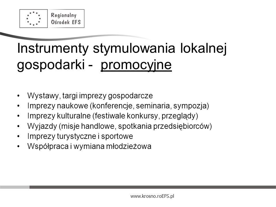 www.krosno.roEFS.pl Instrumenty stymulowania lokalnej gospodarki - promocyjne Wystawy, targi imprezy gospodarcze Imprezy naukowe (konferencje, seminar