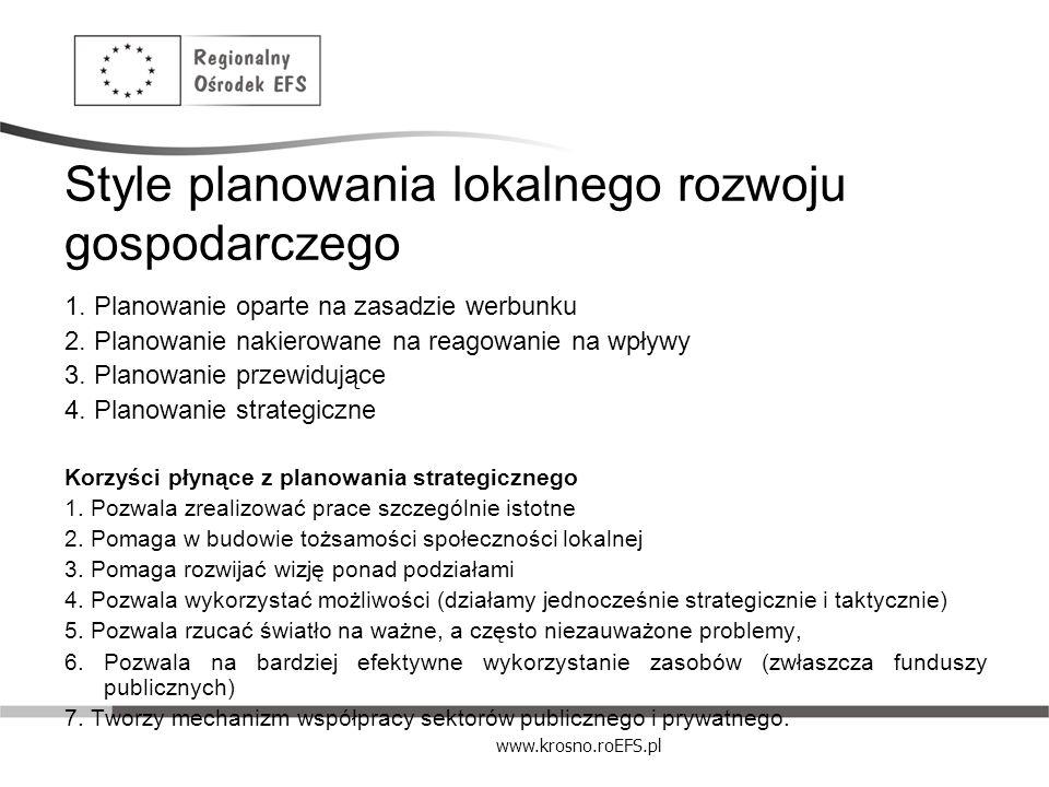 www.krosno.roEFS.pl Style planowania lokalnego rozwoju gospodarczego 1. Planowanie oparte na zasadzie werbunku 2. Planowanie nakierowane na reagowanie