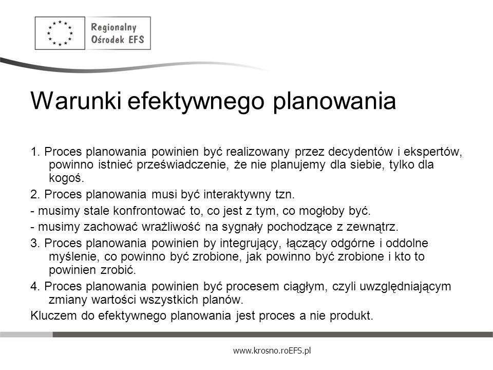 www.krosno.roEFS.pl Warunki efektywnego planowania 1. Proces planowania powinien być realizowany przez decydentów i ekspertów, powinno istnieć prześwi
