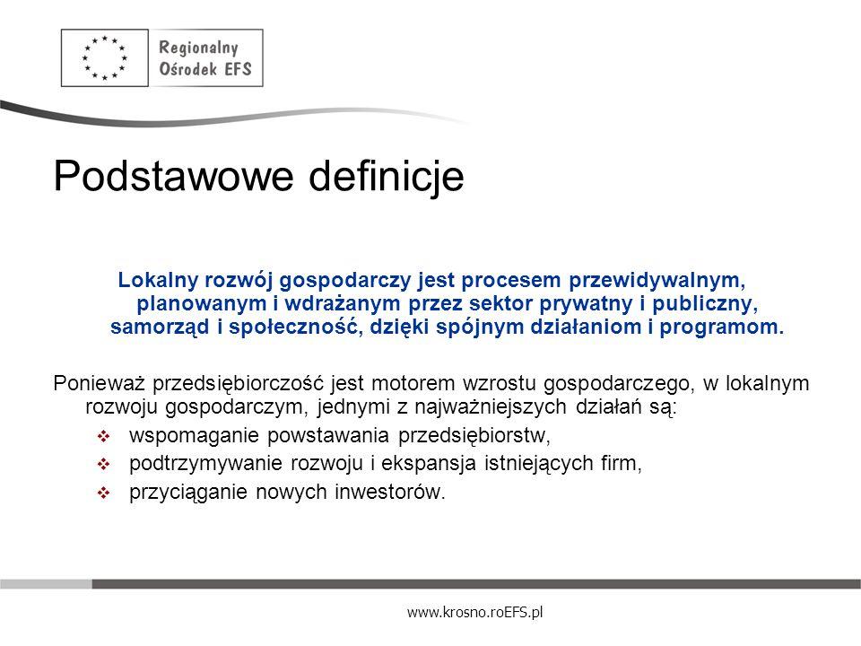www.krosno.roEFS.pl Determinanty rozwoju lokalnego WPŁYW NA LOKALNE OŻYWIENIE SPOŁECZNO – GOSPODARCZE MAJĄ: Wojewoda, administracja rządowa Parlamentarzyści (lobbing lokalny) Marszałek Województwa, Sejmik Województwa Wójtowie/burmistrzowie/prezydenci, radni gmin i powiatów, sołtysi Lokalne organizacje obywatelskie, parafie Podmioty gospodarcze Lokalne media (TV, radio, prasa, serwisy internetowe) Izby rolnicze, izby gospodarcze, organizacje pomocy i doradztwa, etc.