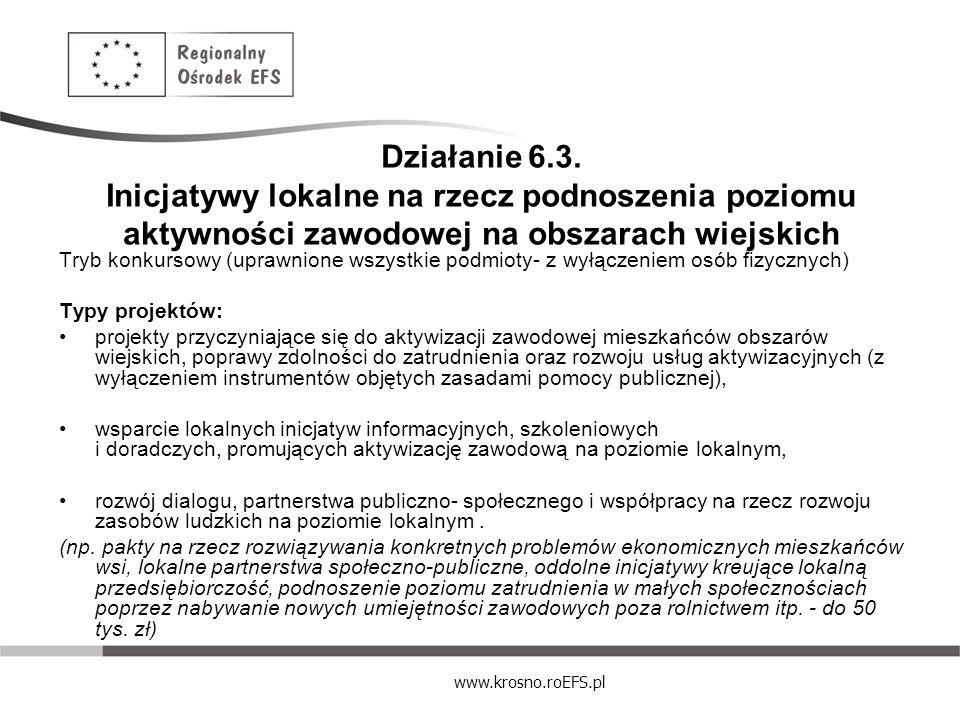 www.krosno.roEFS.pl Działanie 6.3. Inicjatywy lokalne na rzecz podnoszenia poziomu aktywności zawodowej na obszarach wiejskich Tryb konkursowy (uprawn