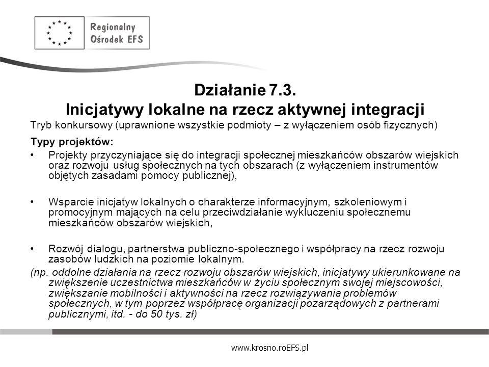 www.krosno.roEFS.pl Działanie 7.3. Inicjatywy lokalne na rzecz aktywnej integracji Tryb konkursowy (uprawnione wszystkie podmioty – z wyłączeniem osób
