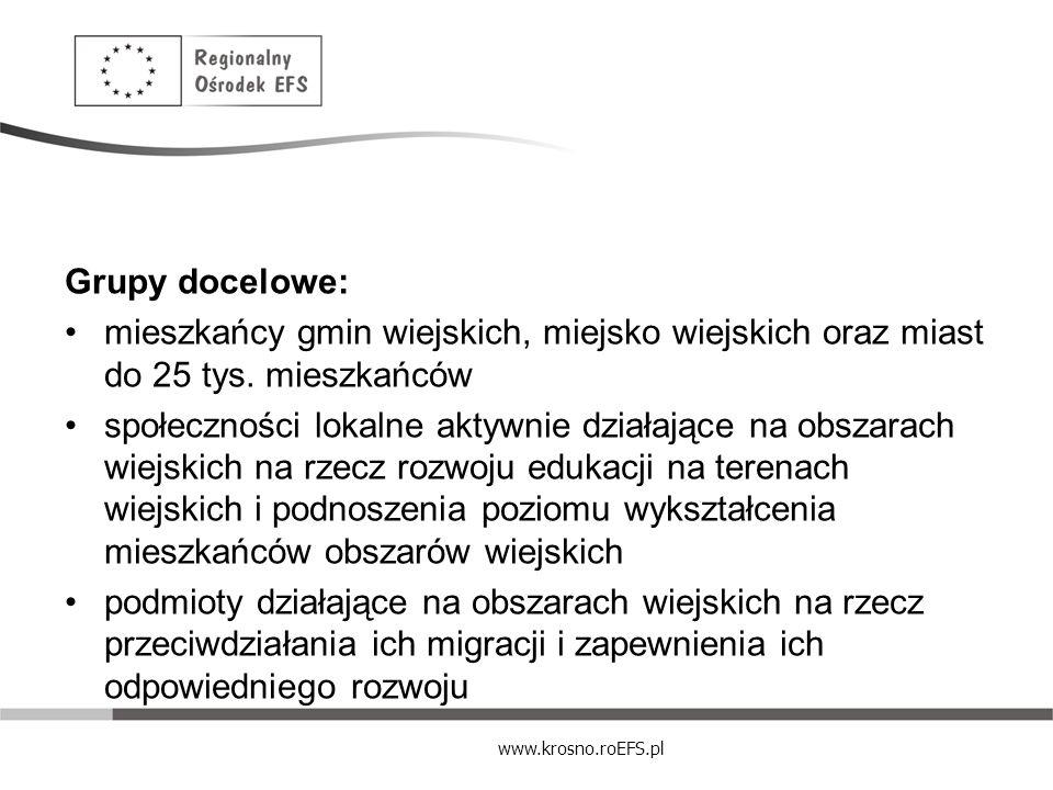 www.krosno.roEFS.pl Grupy docelowe: mieszkańcy gmin wiejskich, miejsko wiejskich oraz miast do 25 tys. mieszkańców społeczności lokalne aktywnie dział