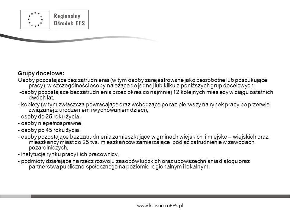 www.krosno.roEFS.pl Grupy docelowe: Osoby pozostające bez zatrudnienia (w tym osoby zarejestrowane jako bezrobotne lub poszukujące pracy), w szczególn