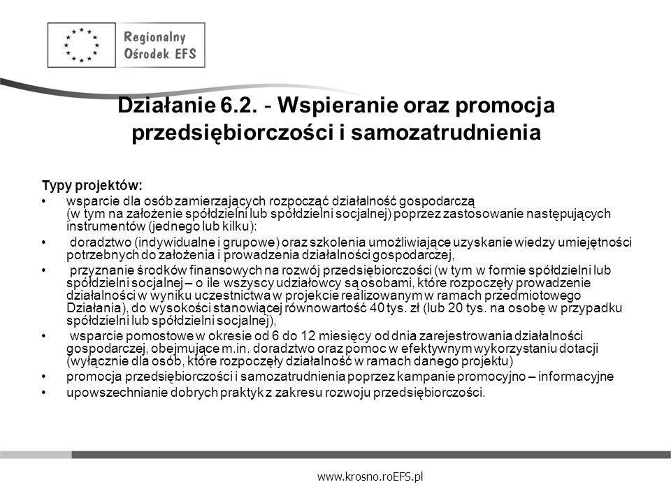www.krosno.roEFS.pl Działanie 6.2. - Wspieranie oraz promocja przedsiębiorczości i samozatrudnienia Typy projektów: wsparcie dla osób zamierzających r