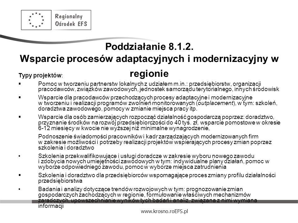 www.krosno.roEFS.pl Poddziałanie 8.1.2. Wsparcie procesów adaptacyjnych i modernizacyjny w regionie Typy projektów: Pomoc w tworzeniu partnerstw lokal