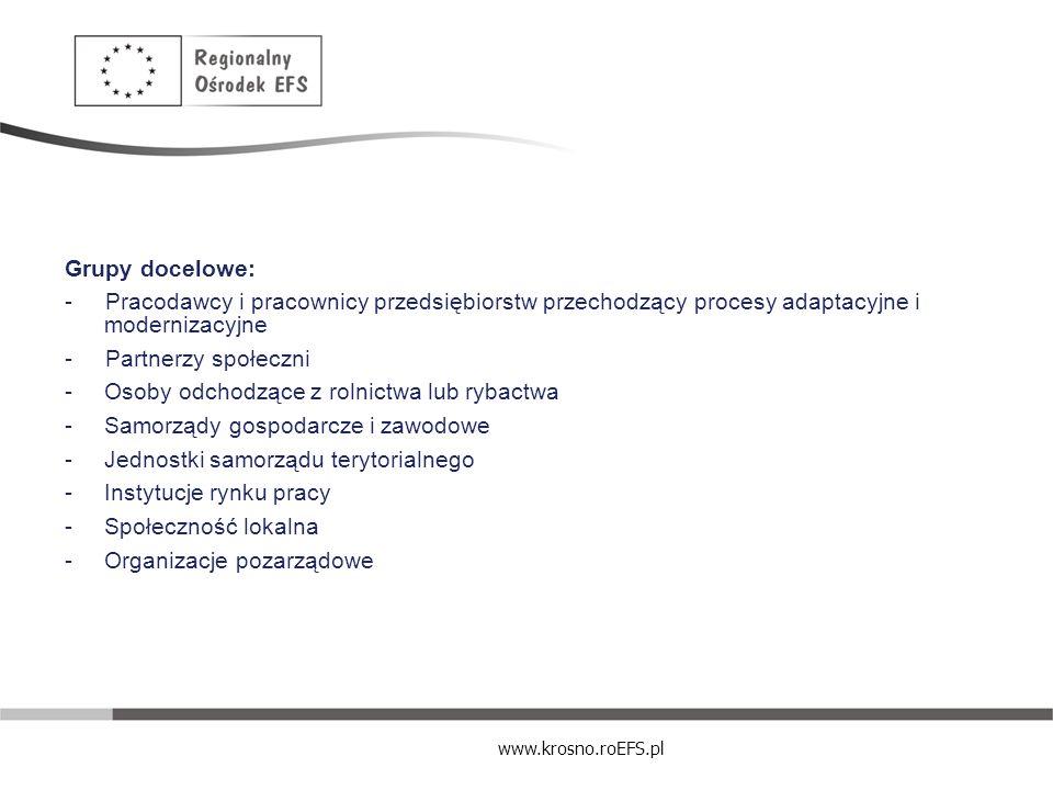 www.krosno.roEFS.pl Grupy docelowe: - Pracodawcy i pracownicy przedsiębiorstw przechodzący procesy adaptacyjne i modernizacyjne - Partnerzy społeczni