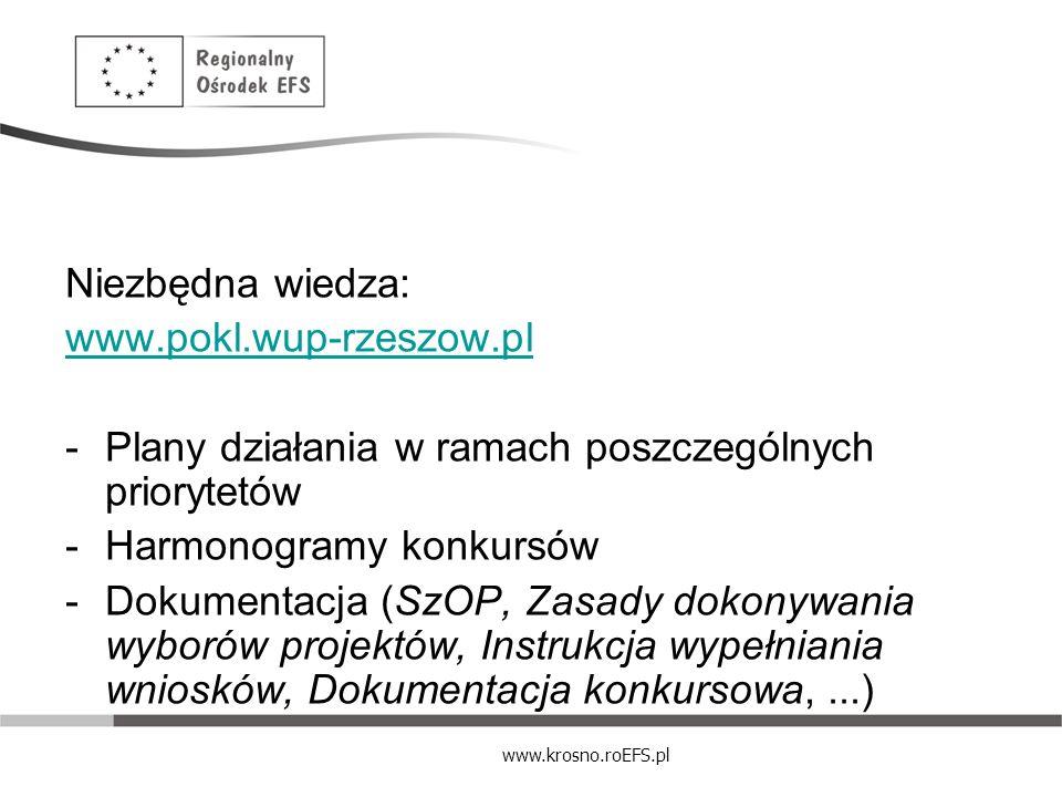 www.krosno.roEFS.pl Niezbędna wiedza: www.pokl.wup-rzeszow.pl -Plany działania w ramach poszczególnych priorytetów -Harmonogramy konkursów -Dokumentac