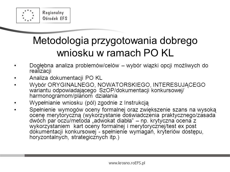 www.krosno.roEFS.pl Metodologia przygotowania dobrego wniosku w ramach PO KL Dogłębna analiza problemów/celów – wybór wiązki opcji możliwych do realiz