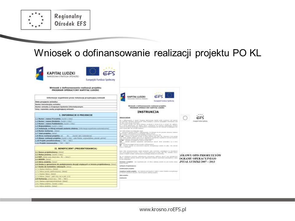 www.krosno.roEFS.pl Wniosek o dofinansowanie realizacji projektu PO KL