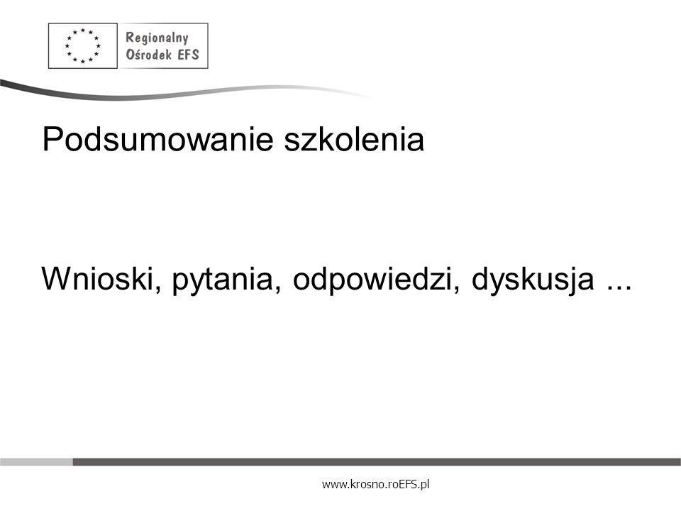 www.krosno.roEFS.pl Podsumowanie szkolenia Wnioski, pytania, odpowiedzi, dyskusja...