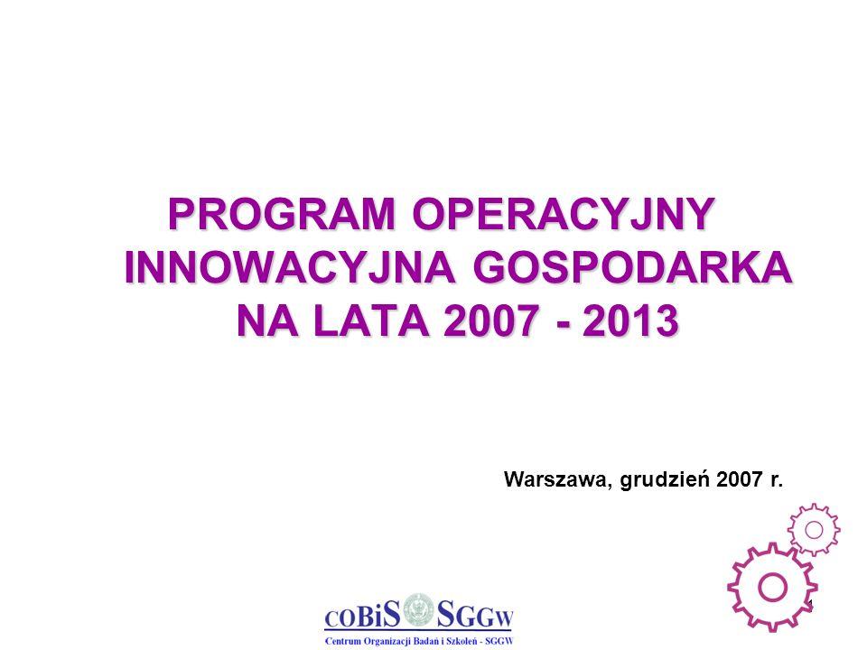 2 Główny Cel Programu Operacyjnego Innowacyjna Gospodarka Rozwój polskiej gospodarki w oparciu o innowacyjne przedsiębiorstwa poprzez: wspieranie projektów o dużym znaczeniu dla gospodarki wspieranie szeroko rozumianej innowacyjności