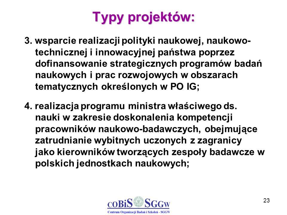 23 Typy projektów: 3. wsparcie realizacji polityki naukowej, naukowo- technicznej i innowacyjnej państwa poprzez dofinansowanie strategicznych program