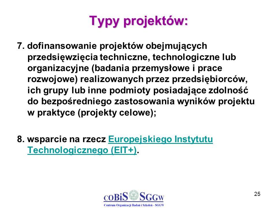 25 Typy projektów: 7. dofinansowanie projektów obejmujących przedsięwzięcia techniczne, technologiczne lub organizacyjne (badania przemysłowe i prace
