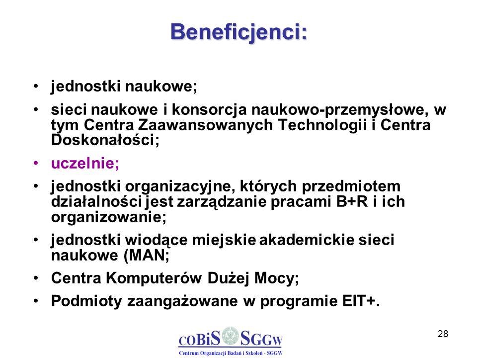 28 Beneficjenci: jednostki naukowe; sieci naukowe i konsorcja naukowo-przemysłowe, w tym Centra Zaawansowanych Technologii i Centra Doskonałości; ucze