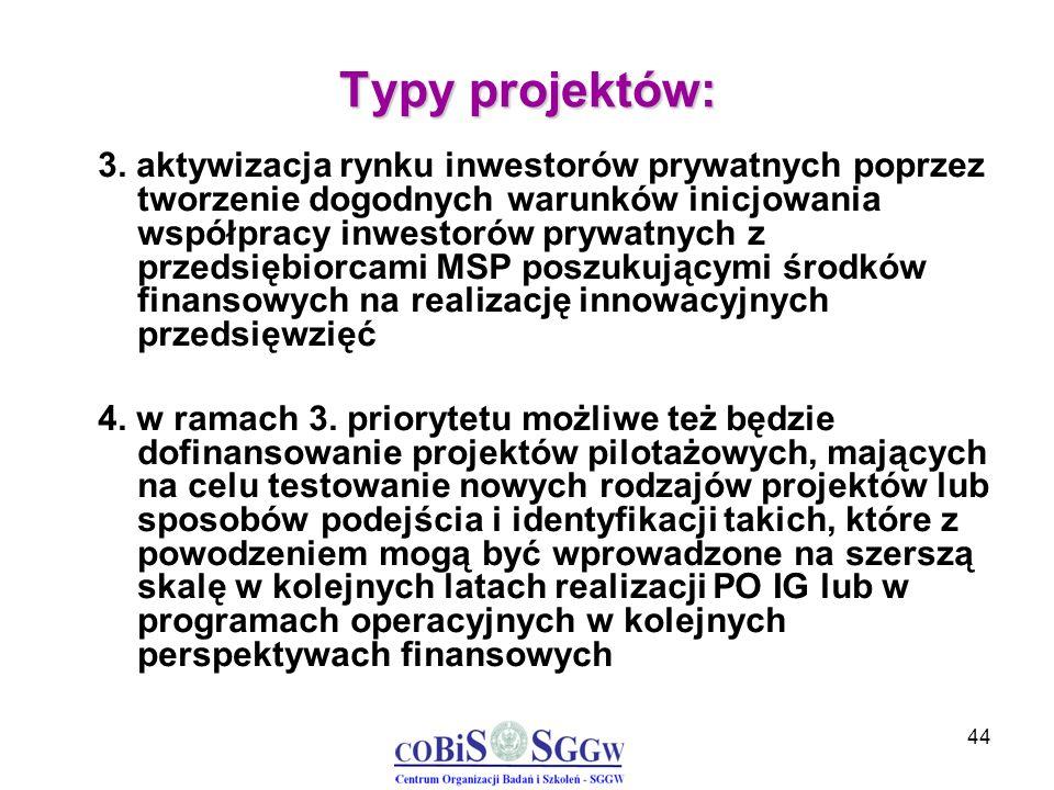 44 Typy projektów: 3. aktywizacja rynku inwestorów prywatnych poprzez tworzenie dogodnych warunków inicjowania współpracy inwestorów prywatnych z prze