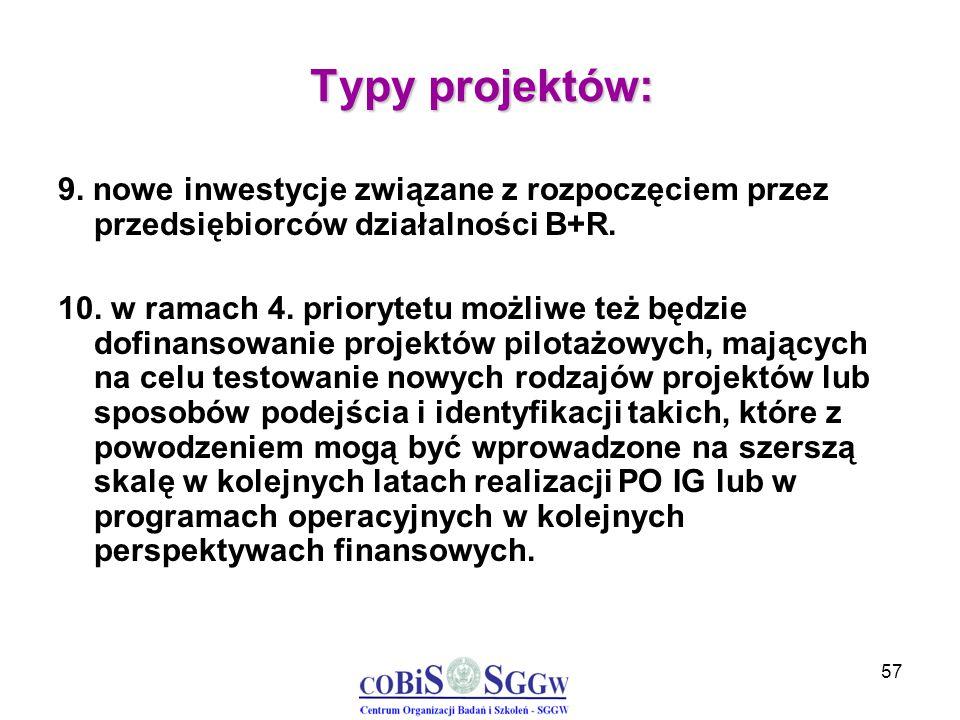 57 Typy projektów: 9. nowe inwestycje związane z rozpoczęciem przez przedsiębiorców działalności B+R. 10. w ramach 4. priorytetu możliwe też będzie do