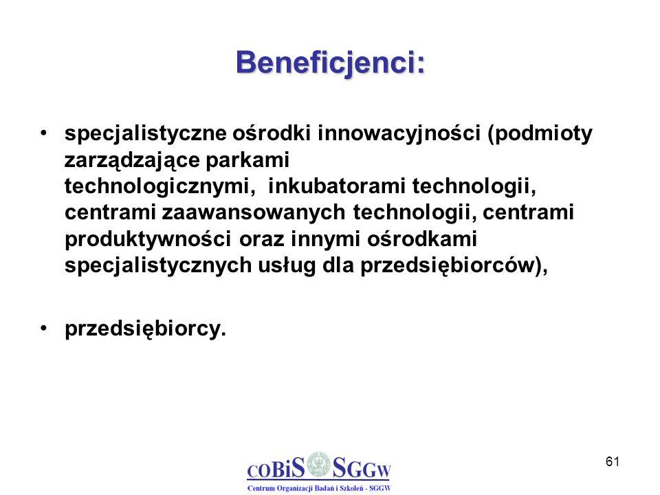 61 Beneficjenci: specjalistyczne ośrodki innowacyjności (podmioty zarządzające parkami technologicznymi, inkubatorami technologii, centrami zaawansowa