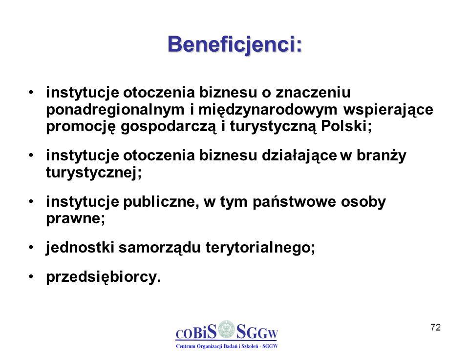 72 Beneficjenci: instytucje otoczenia biznesu o znaczeniu ponadregionalnym i międzynarodowym wspierające promocję gospodarczą i turystyczną Polski; in