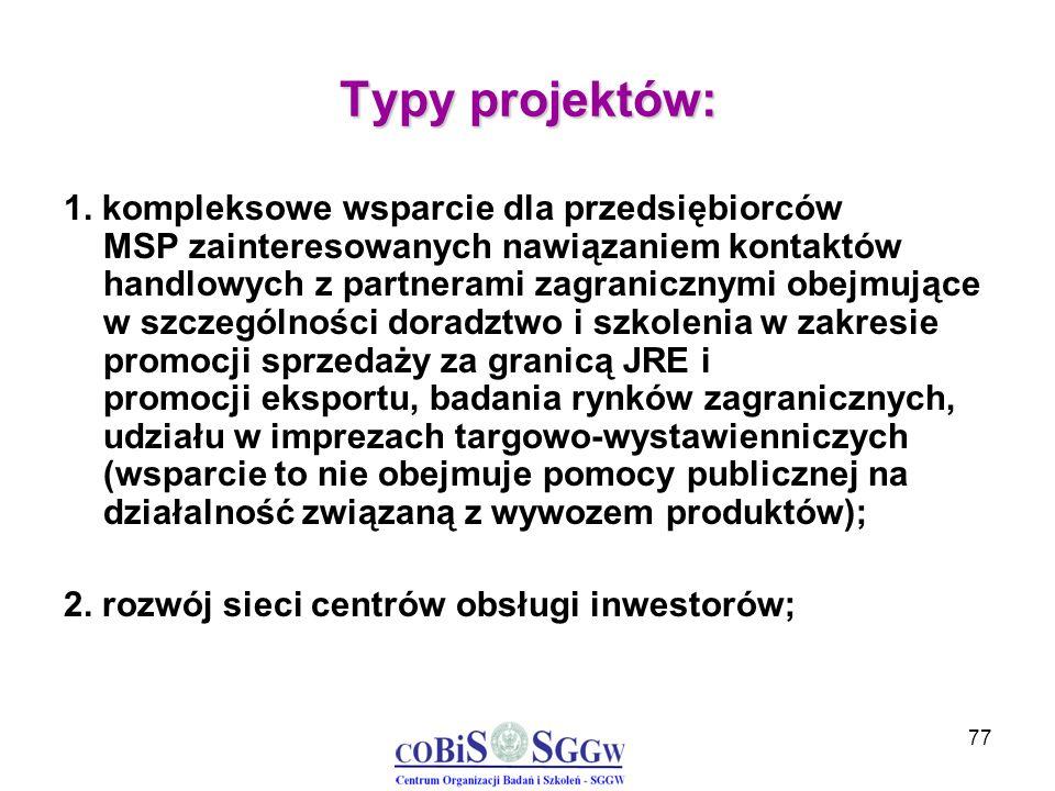 77 Typy projektów: 1. kompleksowe wsparcie dla przedsiębiorców MSP zainteresowanych nawiązaniem kontaktów handlowych z partnerami zagranicznymi obejmu