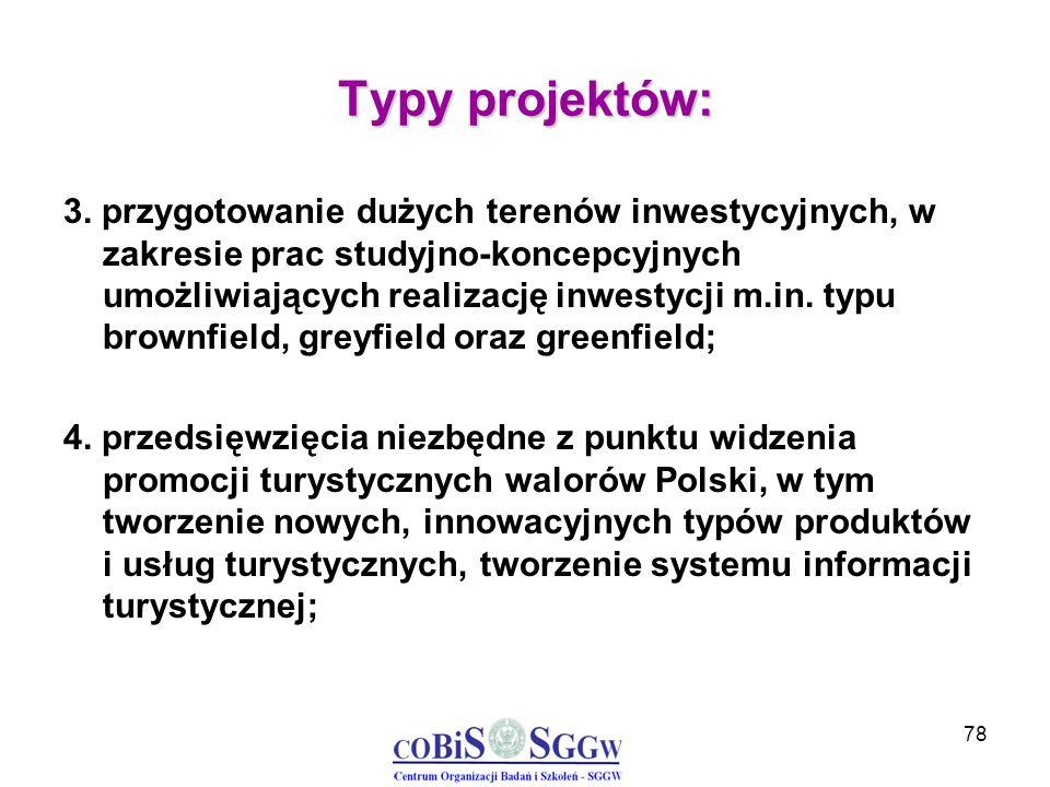78 Typy projektów: 3. przygotowanie dużych terenów inwestycyjnych, w zakresie prac studyjno-koncepcyjnych umożliwiających realizację inwestycji m.in.