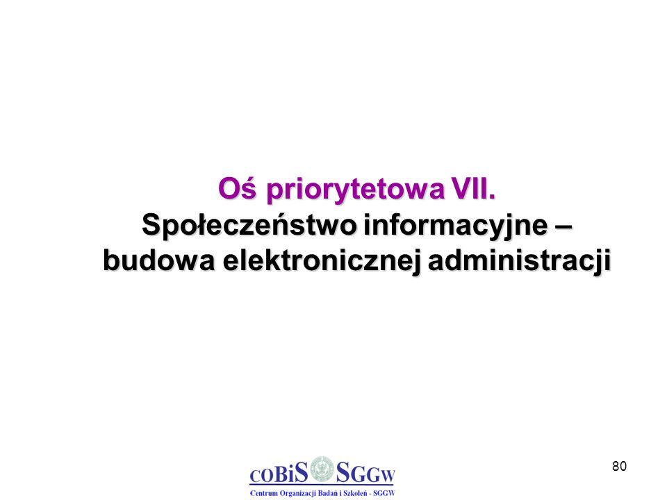 80 Oś priorytetowa VII. Społeczeństwo informacyjne – budowa elektronicznej administracji