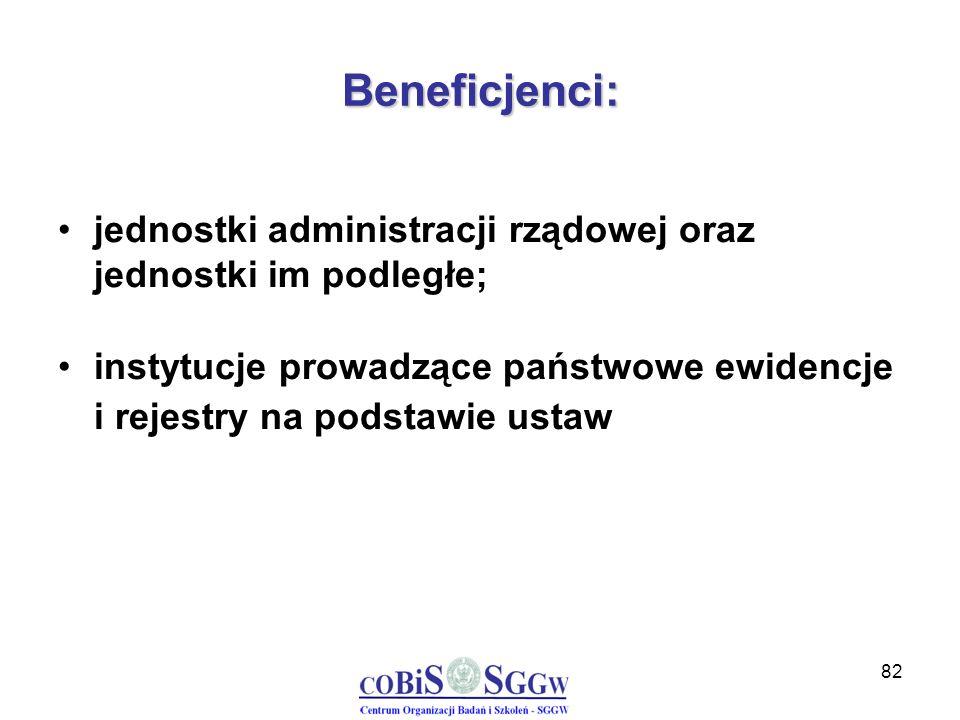 82 Beneficjenci: jednostki administracji rządowej oraz jednostki im podległe; instytucje prowadzące państwowe ewidencje i rejestry na podstawie ustaw
