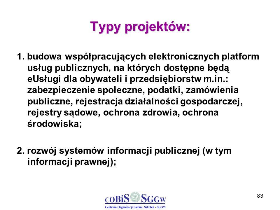 83 Typy projektów: 1. budowa współpracujących elektronicznych platform usług publicznych, na których dostępne będą eUsługi dla obywateli i przedsiębio